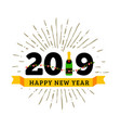 congratulations to the happy new 2019 year with a vector image vector image