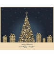 Crisrmas tree with cristmas gift boxes from golden vector image vector image