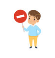 cute boy holding stop sign traffic education vector image vector image