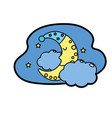 cute moon with sleep hat design and clouds with vector image vector image