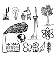 ecology doodle icons vector image