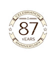 eighty seven years anniversary celebration logo vector image vector image