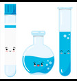 emoji glass test tubes and flack icon set vector image vector image