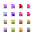 file type icons - video sound and books vector image vector image