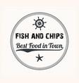 fish and chips vintage menu design stamp vector image vector image