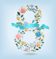 floral number eight with blue ribbon vector image vector image