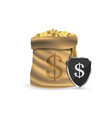 full sack with gold coins concept of vector image vector image