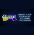 glowing neon beer pub signboard in rectangle vector image vector image