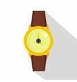 Gold wristwatch icon flat style vector image vector image