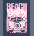 graphic for apparel beach surfer emblemt shirt vector image vector image