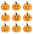 halloween pumpkins collection vector image
