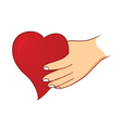 hand holding love vector image vector image