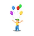 happy child with balloons isolated cartoon vector image