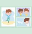 happy children day cute little boys cartoon vector image vector image