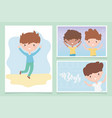 happy childrens day cute little boys cartoon vector image