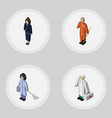 isometric person set of businesswoman housemaid vector image vector image