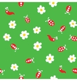 Ladybug worm and flowers seamless pattern vector image vector image