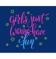 Lettering typography girl overlay vector image vector image