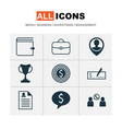 management icons set with dollar bank check vector image vector image