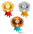 Medals Set Awards Symbols Isolated on White vector image vector image