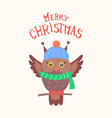 merry christmas feathered owl isolated vector image vector image
