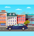 modern car in old city cityscape street vector image