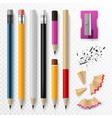 pencil mockup realistic colored wooden graphite vector image vector image