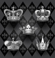royal crowns set in black and white colors on vector image vector image