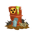 rusty flowing barrel of nuclear waste toxic waste vector image