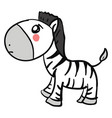 sad zebra on white background vector image