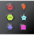 set buttons web glass colorful vector image vector image