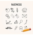 Set of business doodles icons hand drawn vector image vector image