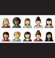 set of women icons with hairstyle in flat style vector image
