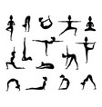 silhouette female wich making yoga vector image