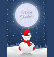 snowman standing alone on christmas night with vector image