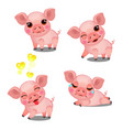 the set emotions a little animated pink pigs vector image vector image