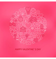 thin line valentine day icons set circle concept vector image vector image