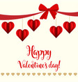 valentines day card with red hearts vector image