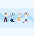 woman and men friends jumping with casual clothes vector image vector image