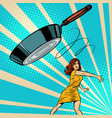 woman throws a frying pan vector image vector image