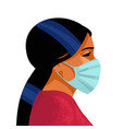 woman wears medical mask virus and disease vector image