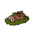 yule log topped with berries colorful doodle vector image vector image