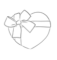 drawing heart with big ribbon bow vector image