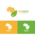 africa and leaf logo combination safari vector image vector image