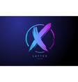 alphabet x letter logo grunge brush blue pink vector image vector image