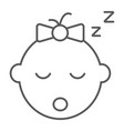 baby girl sleep thin line icon child and face vector image vector image