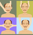 bald man having facial massage in spa top view vector image vector image