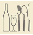 Bottle glass of champagne fork knife and spoon vector image vector image