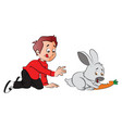 boy hungrily looking at rabbit eating a carrot vector image vector image