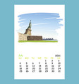 calendar sheet new york july month 2021 year vector image